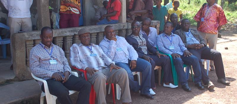 A Cross-Section of NRA Staff at Gbomsamba Village during an Ebola Awareness Raising Visit